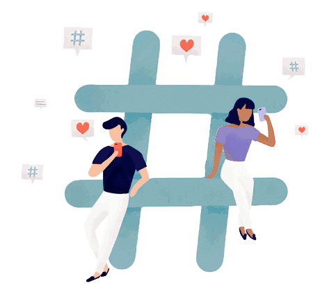 Humans Hashtag Illustration