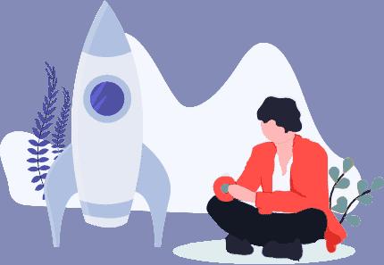 Mensch sitzt neben Rakete - Illustration