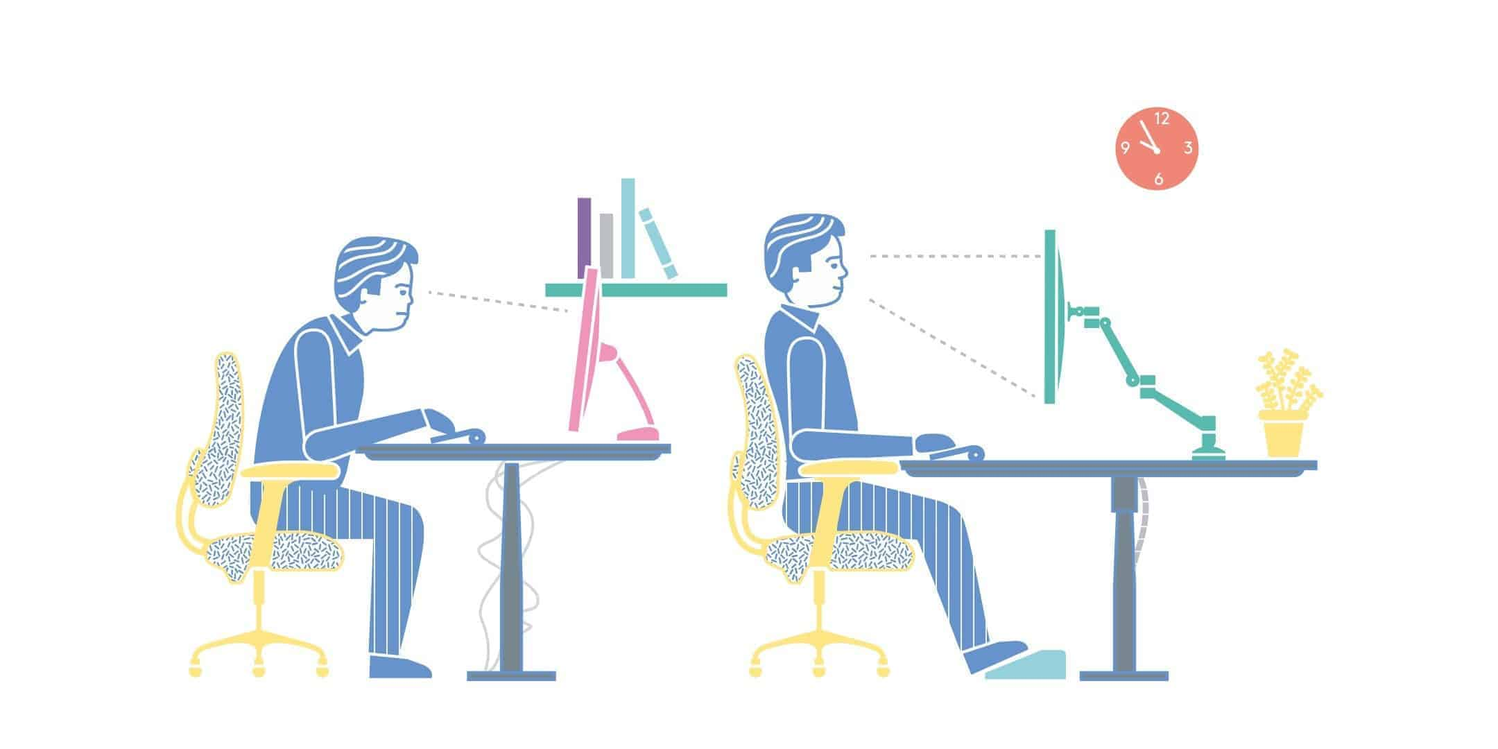 Veranschaulichung der richtigen Sitzhaltung am Schreibtisch