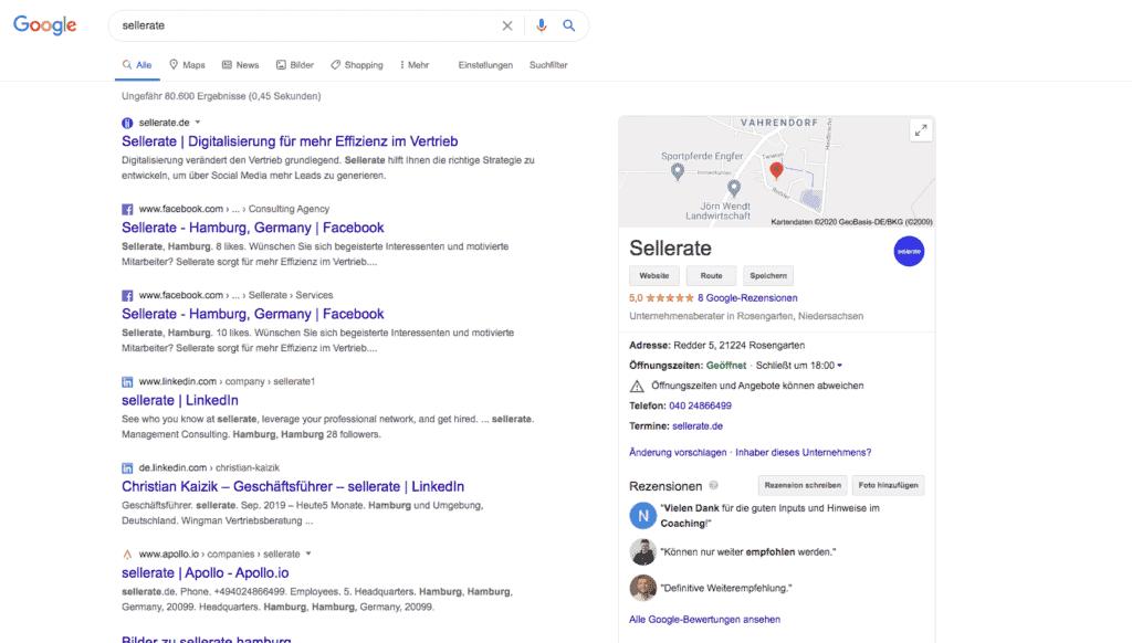 Darstellung eines Google My Business Eintrags rechts neben den Suchergebnissen