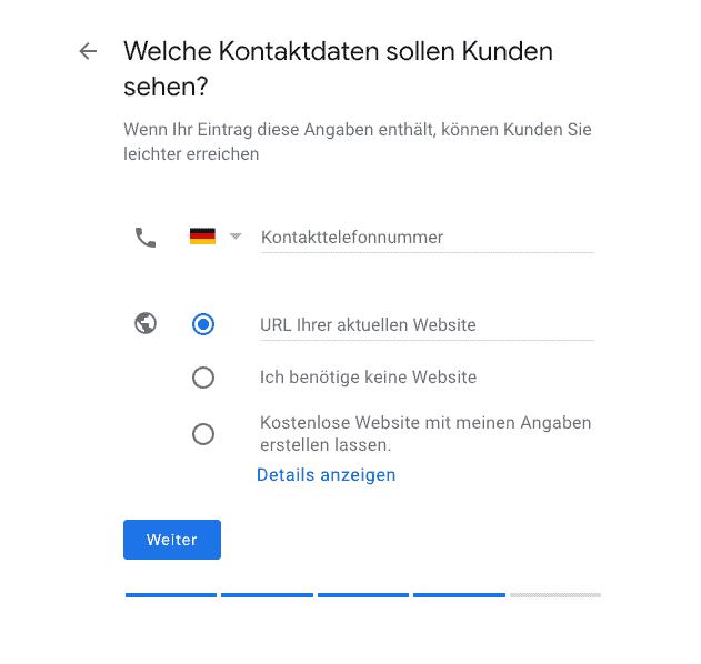 Google My Business Kontaktdaten