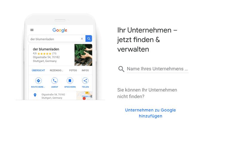 Google My Business Name des Unternehmens angeben