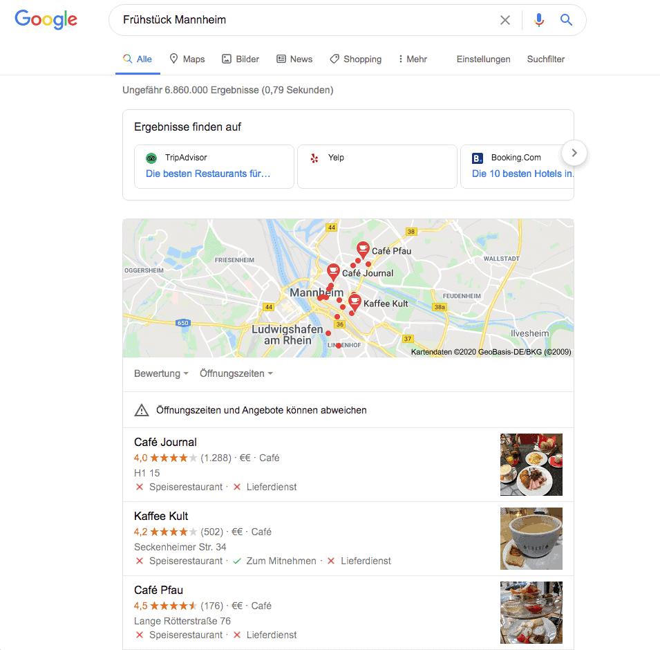 Local Pack Darstellung in der Google Suche